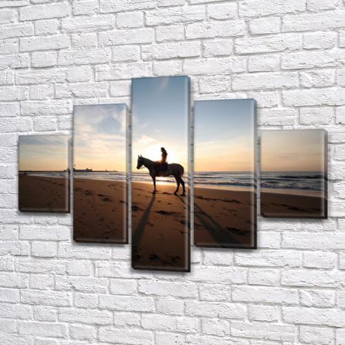 Всадник на пляже, модульная картина (животные, кони, лошади) на Холсте, 95x135 см, (40x25-2/70х25-2/95x25)