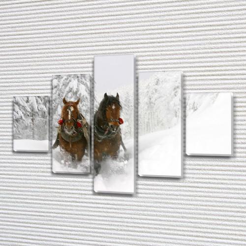 Лошади в снегу, модульная картина (животные, кони, зима) на Холсте, 95x135 см, (40x25-2/70х25-2/95x25)