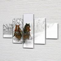 Лошади в снегу, модульная картина (животные, кони, зима) на Холсте, 95x135 см, (40x25-2/70х25-2/95x25), фото 1