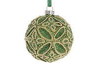 Шар елочный с декором 8см, цвет - золотистый лайм