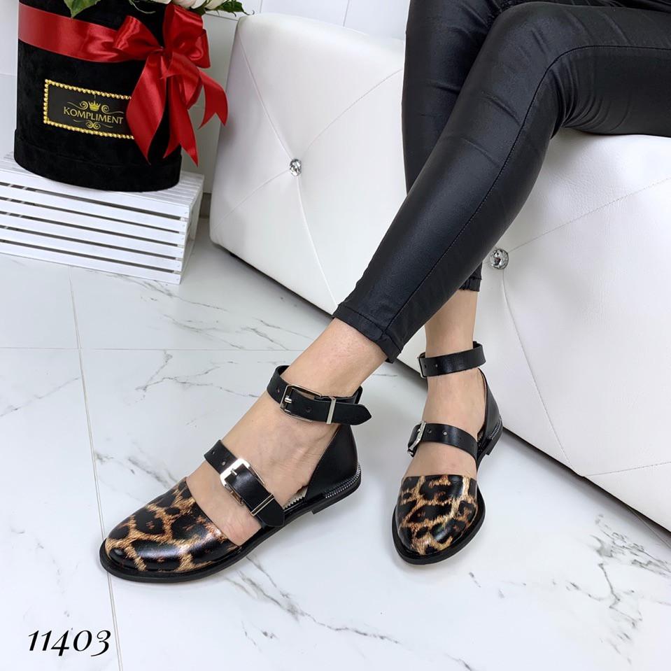 Туфли женские кожаные открытые на низком ходу