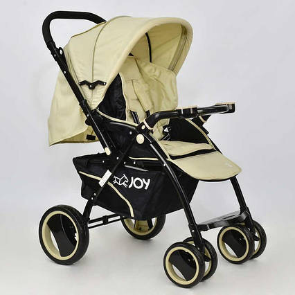 Прогулочная детская коляска с перекидной ручкой и большими колесами JOY T-100, БЕЖЕВЫЙ