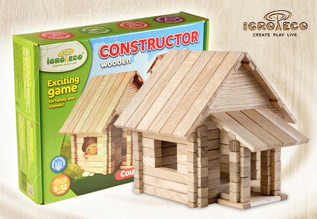 Конструктор из дерева Загородный домик 146 деталей Игротеко