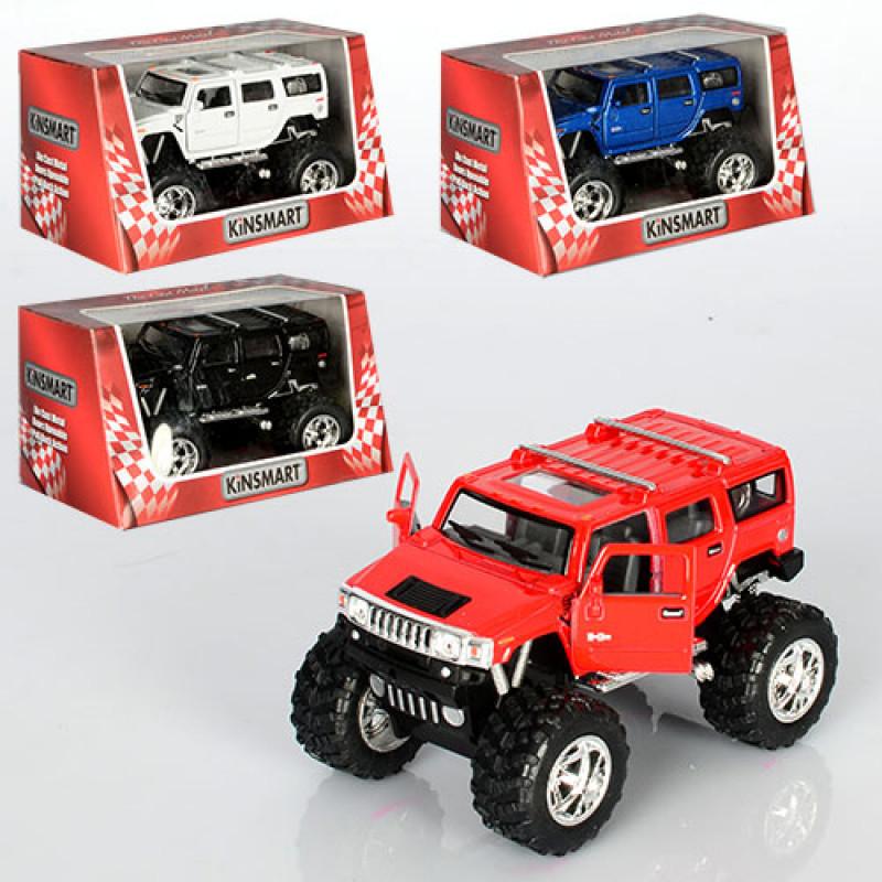 Машинка KINSMART HUMMER H2, інерційний, в коробці, 4 кольори, 15-8,5-9 см.