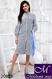 Женское льняное платье рубашка в полоску (р. S, M, L) арт. 20619