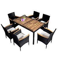 Комплект садовой мебели плетеной из ротанга и акации GUSTAVO