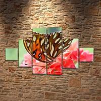 Бабочка на красных цветах, модульная картина (бабочки) на ПВХ ткани, 75x130 см, (20x20-2/45х20-2/75x20-2)