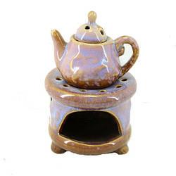 Аромалампа Чайник на подставке, керамика, фиолетовый