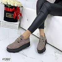 Демисезонные замшевые кофейные ботинки на платформе, фото 1