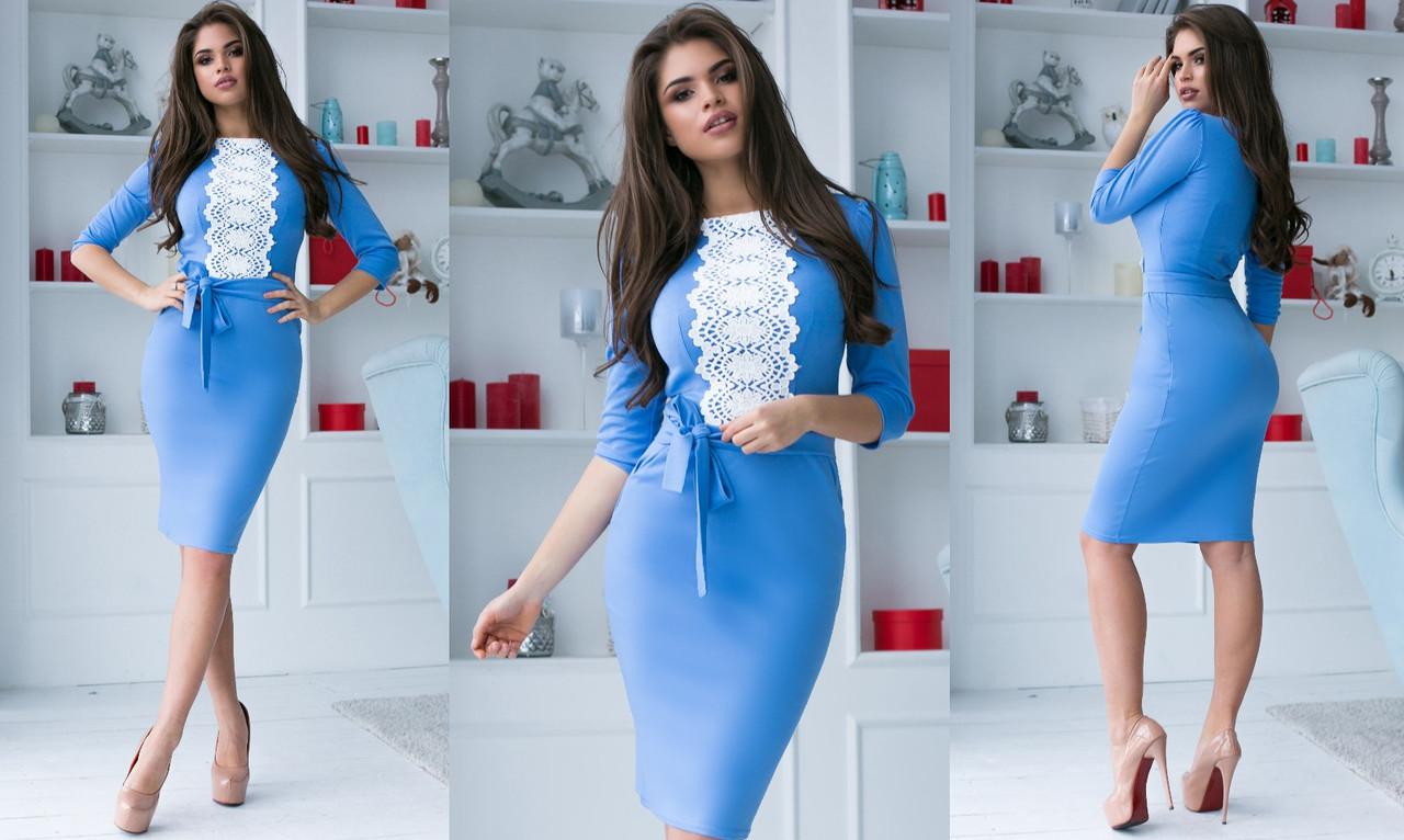 """Элегантное женское платье средней длины 2129 """"Трикотаж Миди Мулине Кармашки"""" в расцветках"""