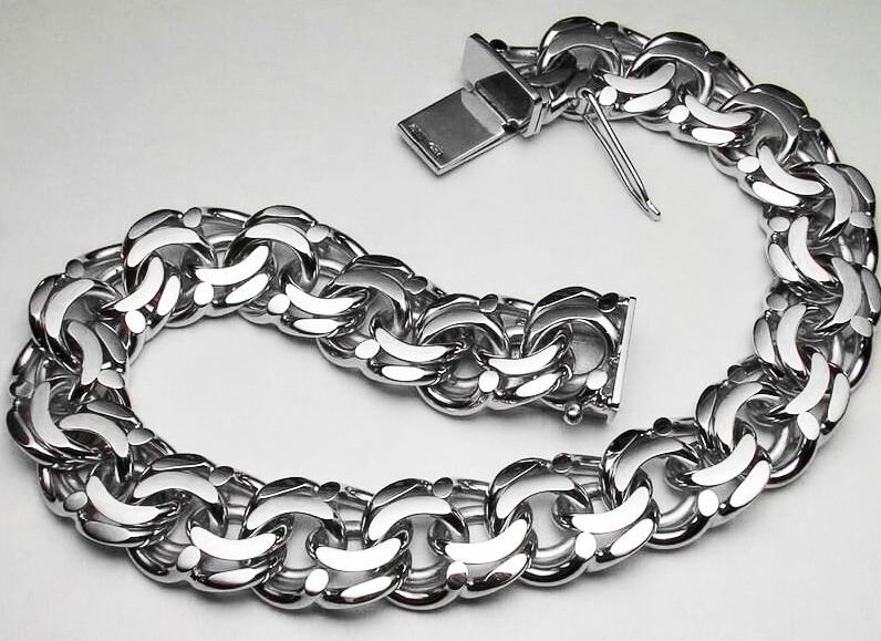 Браслет серебряный большой плетение Бисмарк