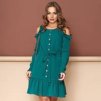 """Зеленое короткое платье открытые плечи размер L """"Беби"""", фото 1"""