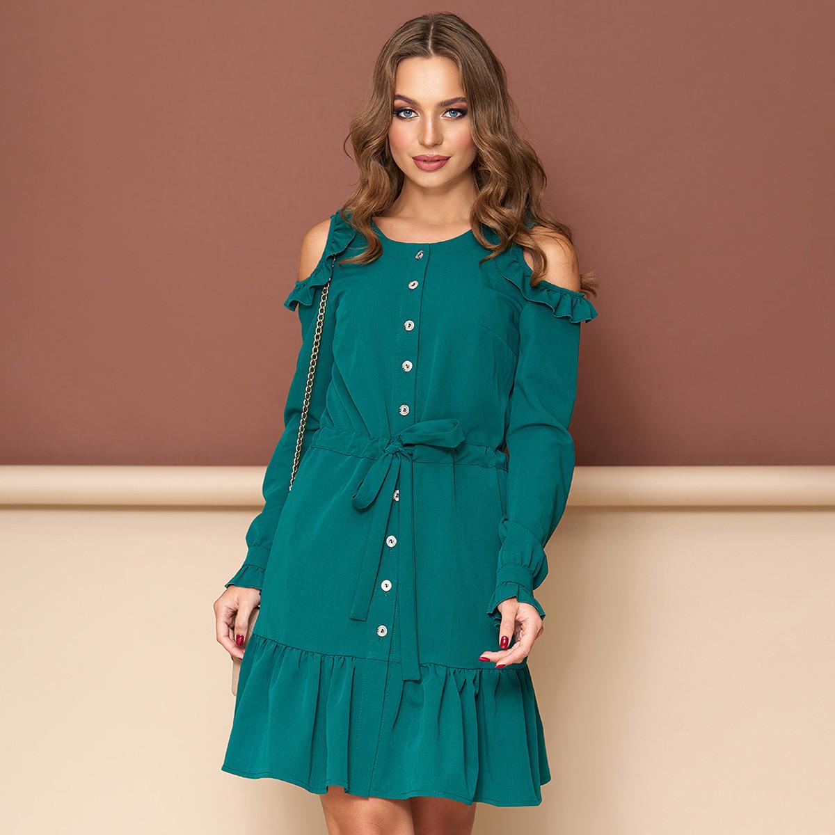 "Зеленое короткое платье открытые плечи размер L ""Беби"""