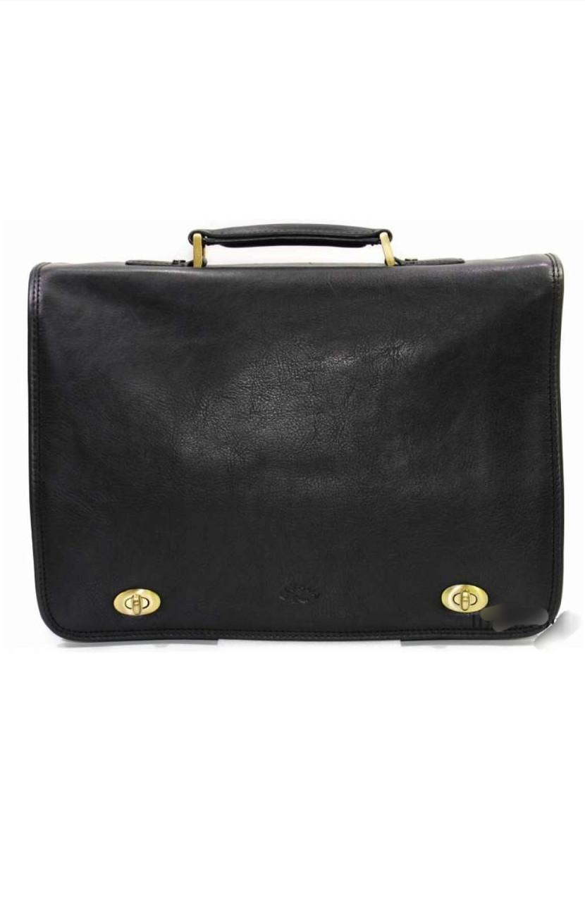 Портфель мужской кожаный чёрный 31017