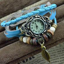 Винтажные часы-браслет голубые винтаж