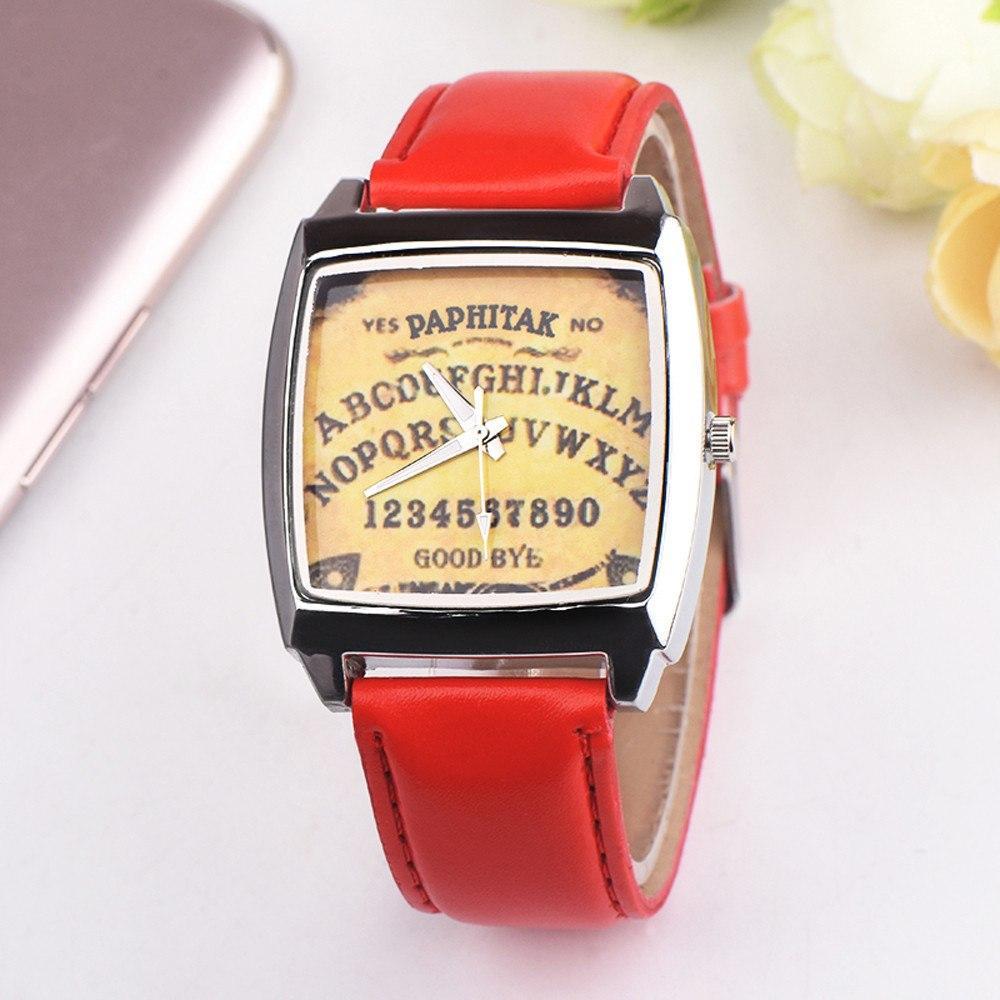 Необычные часы с оригинальным циферблатом красный ремешок красные