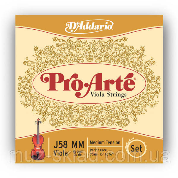 Струны для альта D`ADDARIO J58MM Pro Arte Medium MM