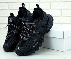Мужские кроссовки Balenciaga Track Кожаные Черные , Реплика