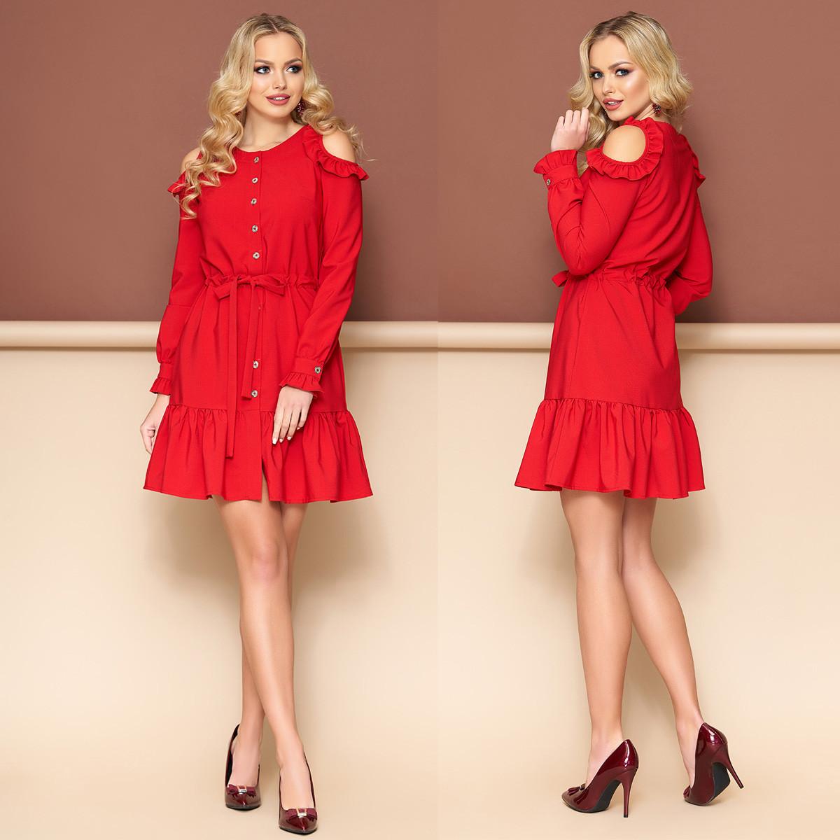c2eafd84134aa9f Красное молодежное платье с рюшами размер M