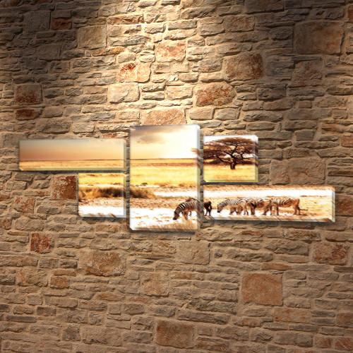 Зебры, модульная картина (животные, Африка), 80x190 см, (25x70-2/35х35-2/80x45)