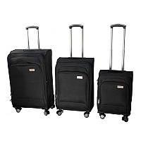 Набор дорожных чемоданов, на колесах, LUGGAGE HQ, 3 шт., большой, багажный, ручной, цвет - чёрный