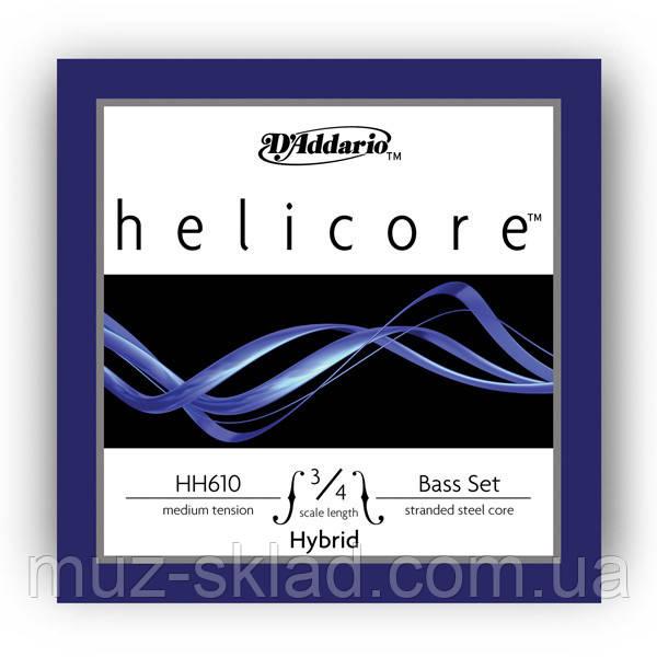 Струны для контрабаса D`ADDARIO HH610 3/4M Helicore Hybrid 3/4M