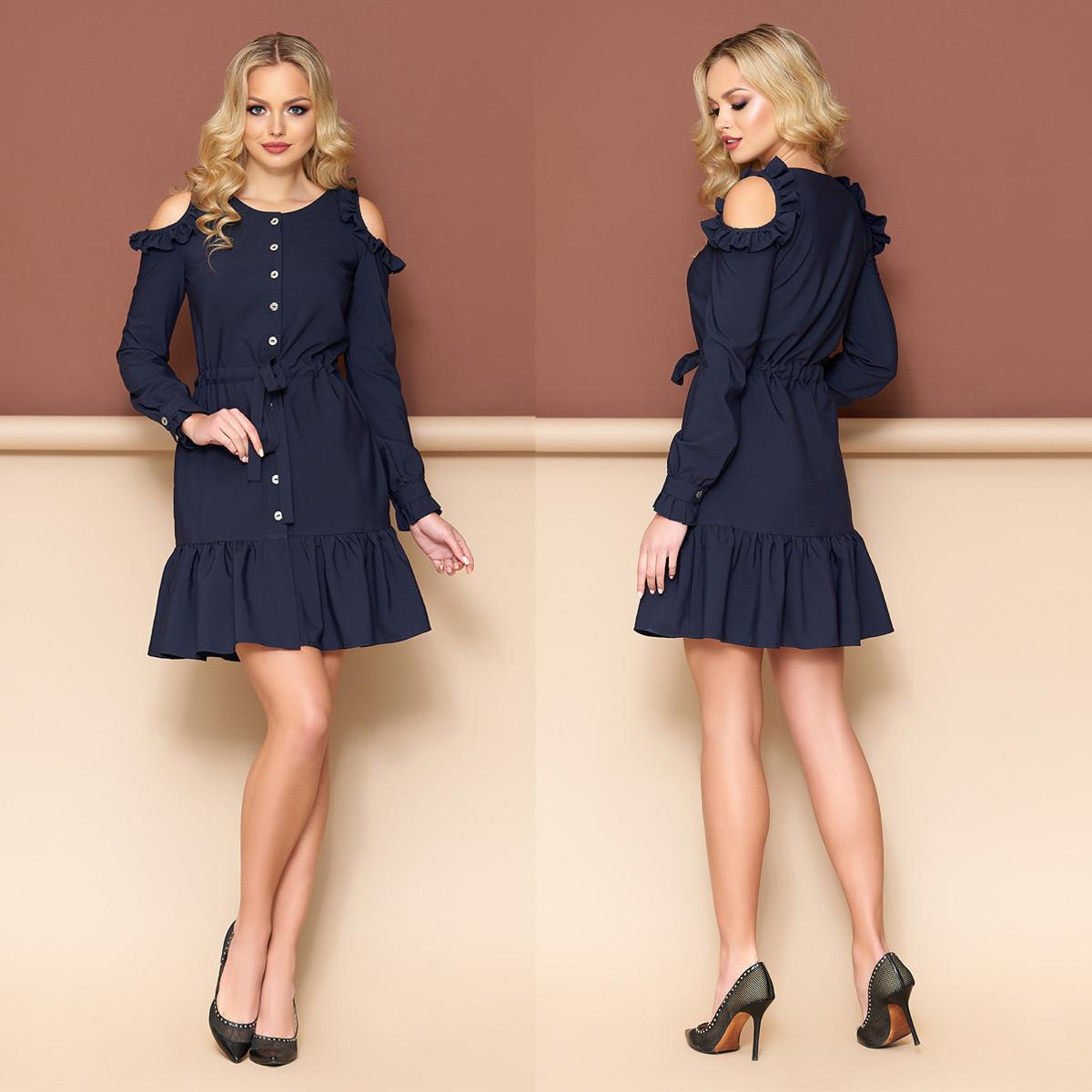 """Синее платье-халат молодежное с рюшами размеры M, L """"Беби"""""""