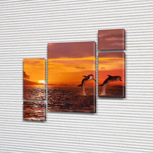 Дельфины на закате, модульная картина (животные, рыбы) на Холсте, 120x130 см, (60x30-2/25х30-2/95x65)