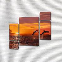 Дельфины на закате, модульная картина (животные, рыбы) на Холсте, 120x130 см, (60x30-2/25х30-2/95x65), фото 1