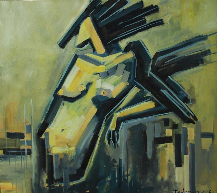 "Картина маслом ""Ворон"", 90х100 см, холст, масло"