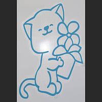Трафарет для жидких обоев Котенок с цветком