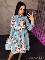 Платье женское стильное цветочный принт воротник стойка с поясом разные расцветки Sml3064