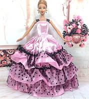 cc45740a5a2 Пышное розовое платье в горошек для куклы Барби