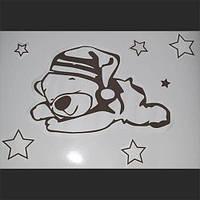 Трафарет для жидких обоев Мишка А1+6 шт звезды набор А5