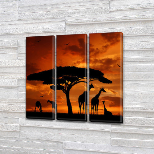 Жирафы на закате, модульная картина (животные, Африка), 95x95 см, (95x30-3)