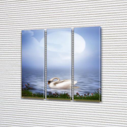 Акварельный Лебедь, модульная картина (животные, птицы) на Холсте, 95x95 см, (95x30-3)