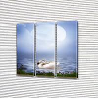 Акварельный Лебедь, модульная картина (животные, птицы) на Холсте, 95x95 см, (95x30-3), фото 1