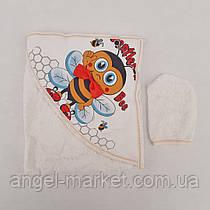 "Полотенце ""Пчелка"" + рукавица, махра, для купания и крещения."