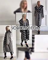 Пальто с мехом шиншиллы из итальянского кашемира, фото 1
