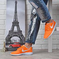 Кроссовки женские текстильные Nike Roshe Run оранжевые с белым, Оранжевый, 40
