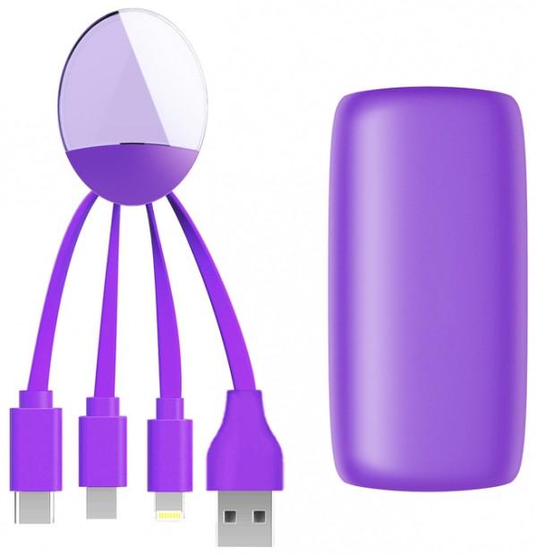 Внешняя портативная аккумуляторная батарея XOOPAR - Weekender (Li-Pol, 5000мА*час, фиолетовый, с кабелем Тype-C, Lighting, micro USB, USB)