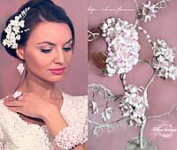 """""""Бело-розовые фрезии"""" свадебный комплект украшений , фото 1"""