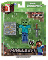 Зомби фигурка Майнкрафт Minecraft Core Zombie Action Figure с мечом оригинал Jazwares