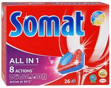 Таблетки для посудомоечных машин SOMAT все в 1 24шт+24шт