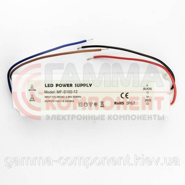 Блок питания 12В герметичный SLIM PLASTIC, 8.33A 100Вт, IP65