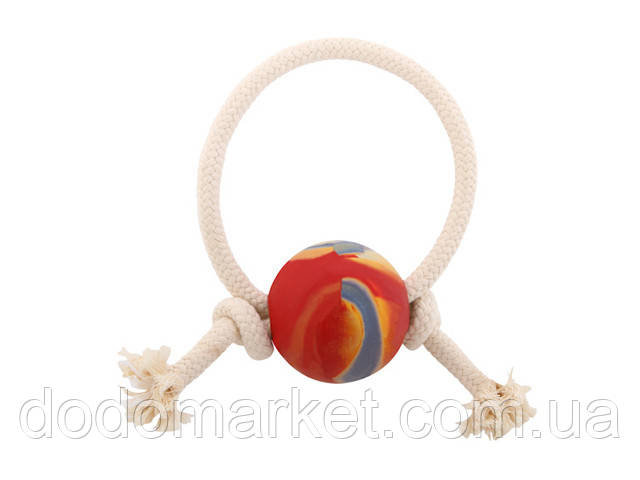 Игрушка для собак шар с веревкой 7см