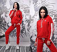 Костюм спортивный женский с лампасами, стильный, красный, 524-042, фото 1