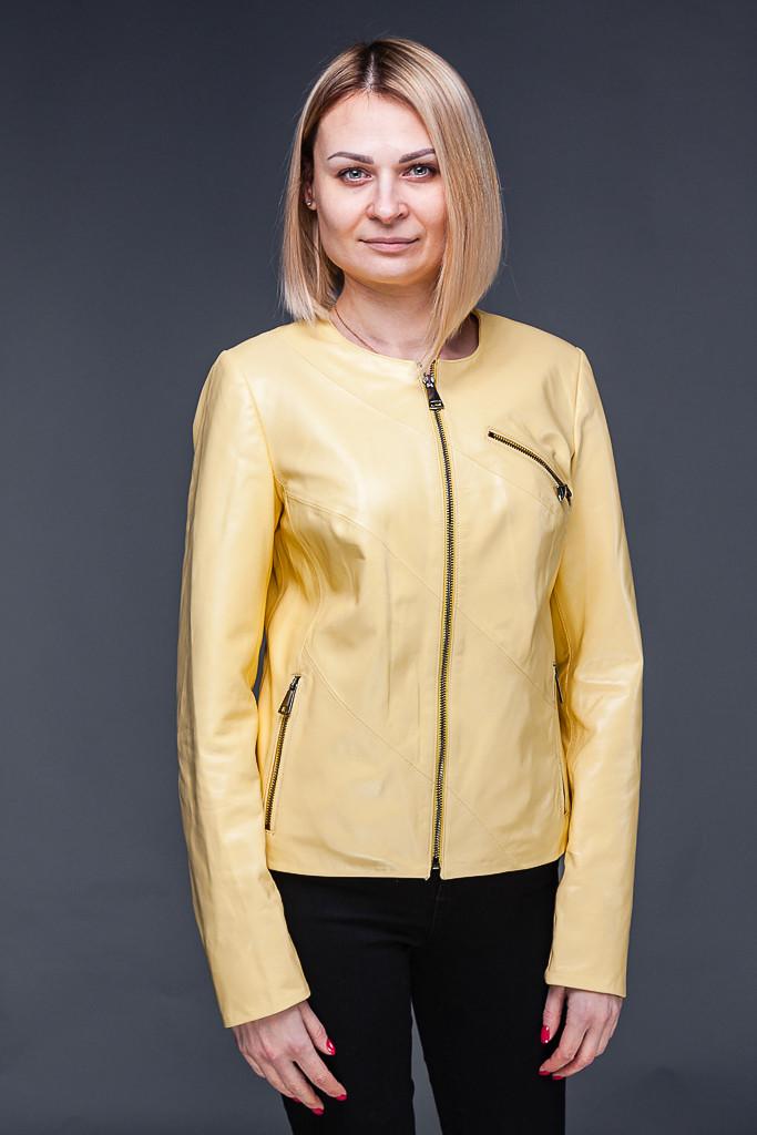 Женская кожаная куртка желтая