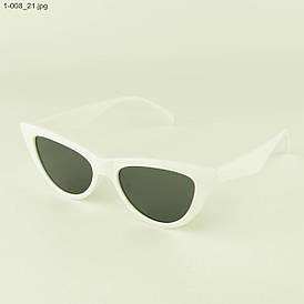 Очки кошачий глаз - Белые с черными линзами - 1-008