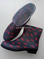 Стильные женские резиновые сапоги / Стильні жіночі гумові чоботи /сердечка полусапоги Литма Літма Litma